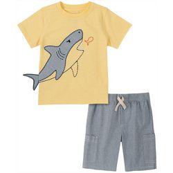 Little Boys Shark Tee & Heather Short Set