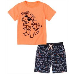 Kids Headquarters Little Boys 2-pc. Rex Star Short Set
