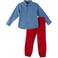 Nautica Little Boys Horizontal Striped Button Down Pants Set