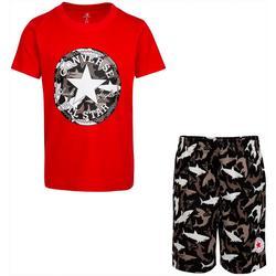Little Boys Shark Bite Tee & Shorts Set