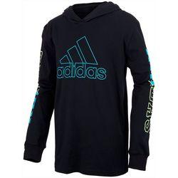 Adidas Big Boys Hooded Logo Long Sleeve Shirt