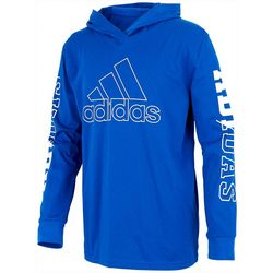 Adidas Big Boys Hooded Logo Long Sleeve Shirt