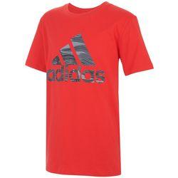 Adidas Big Boys Lenticular Badge Stripe Short Sleeve