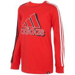 Adidas Big Boys 3-Stripe Logo Long Sleeve T-Shirt