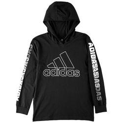 Adidas Big Boys Hooded Logo Long Sleeve T-Shirt