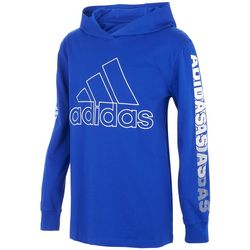 Adidas Little Boys Hooded Logo Long Sleeve T-Shirt