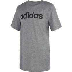 Adidas Big Boys Linear Logo Heathered Short Sleeve T-Shirt