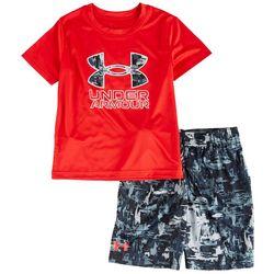 Under Armour Little Boys 2-pc. Splash Logo Shorts Set