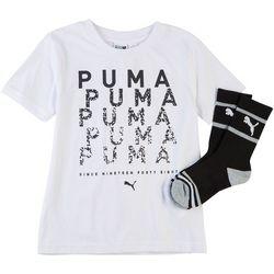 Puma Little Boys 2-pc. Digital Graphic Logo T-Shirt & Socks