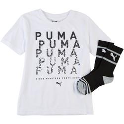Little Boys 2-pc. Digital Graphic Logo T-Shirt & Socks