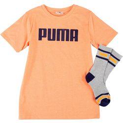 Puma Big Boys 2-Pc. Solid Logo T-Shirt & Socks