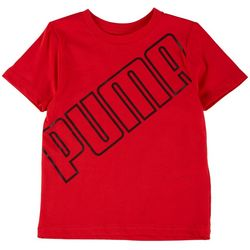 Puma Little Boys Slanted Logo Short Sleeve T-Shirt