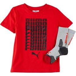 Puma Little Boys 2-pc. Fading Graphic Logo T-Shirt & Socks