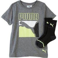 Puma Little Boys 2-pc. Colorblocked Graphic T-Shirt & Socks