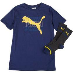 Puma Big Boys 2-Pc. Graphic Logo T-Shirt & Socks
