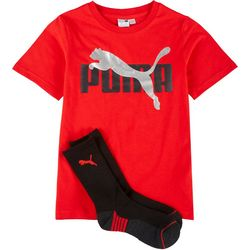 Puma Big Boys Solid Logo T-Shirt & Socks