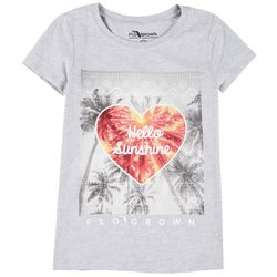 FloGrown Big Girls Hello Sunshine Short Sleeve T-Shirt