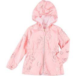 Pink Platinum Little Girls Floral Windbreaker Jacket