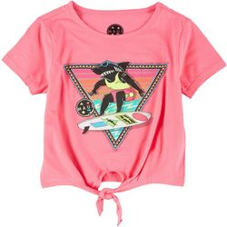 Maui & Sons Girls Short Sleeve Front Tie Top