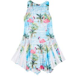 India Boutique Little Girls Tropical Flamingo Swim Cover-Up