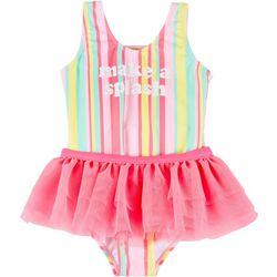 Pink Flamingo Little Girls Striped Tutu Skirt Swimsuit