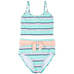 Pink Flamingo Big Girls 2-pc. Stripe High Waist Tankini Set
