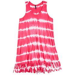 Big Girls Tie Dye Stripe Fringe Swim Cover-Up