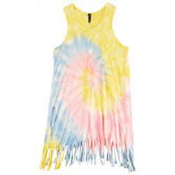 Big Girls Tie Dye Fringe Swim Cover-Up