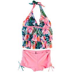 Big Girls 2-pc. Hibiscus Halter Swimsuit Set
