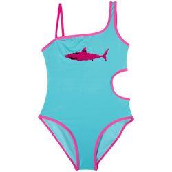 XOXO Little Girls Sequin Shark Swimsuit