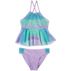 Big Girls 2-pc. Diamond Crochet Tankini Swimsuit Set