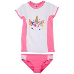 Little Girls 2-pc. Unicorn Crown Rashguard Swimsuit Set