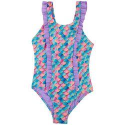 XOXO Little Girls Mermaid Scale Double Ruffle Swimsuit