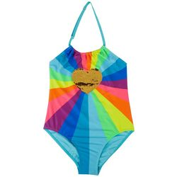XOXO Little Girls Sequin Heart Rainbow Swimsuit