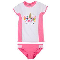 XOXO Big Girls 2-pc. Unicorn Crown Rashguard Swimsuit Set
