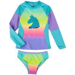 Little Girls 2-pc. Unicorn Rashguard Swimsuit Set