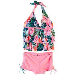 XOXO Little Girls 2-pc. Hibiscus Halter Swimsuit Set