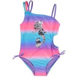 XOXO Big Girls Sequin Mermaid Stripe Swimsuit