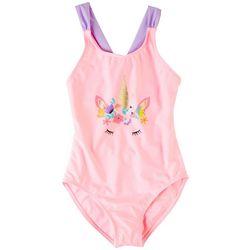 XOXO Little Girls Unicorn Flower Crown Swimsuit