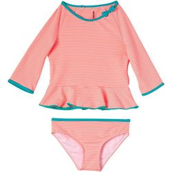 Kensie Girl Little Girls 2-pc. Stripe Swimsuit Set