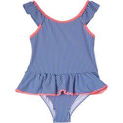 Kensie Girl Little Girls Flutter Sleeve Stripe Swimsuit