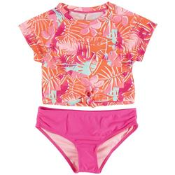 Big Girls 2-pc. Palm Leaf Rashguard Set