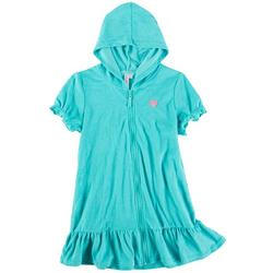 Big Girls Solid Zipper Hooded Cover Up