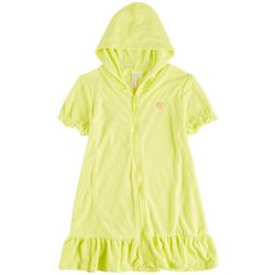 Pink Platinum Big Girls Solid Zipper Hooded Cover Up