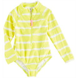 Kensie Girl Big Girls Tie Dye Stripe Rashguard Swimsuit