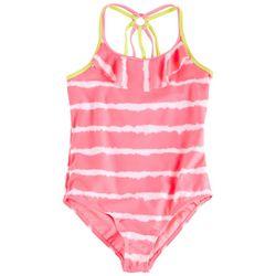 Kensie Girl Little Girls Tie Dye Stripe Swimsuit