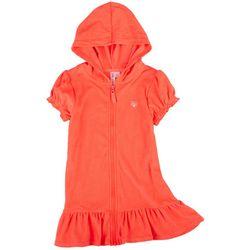 Pink Platinum Little Girls Solid Zipper Hooded Cover Up