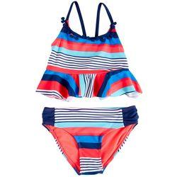 Limited Too Little Girls 2-pc. Stripe Ruffle Swimsuit Set