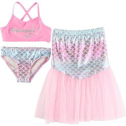 Little Girls 3-pc. Mermaid Swimsuit Set