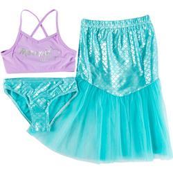 Little Girls 3-pc. Mermaid Swimsuit Set